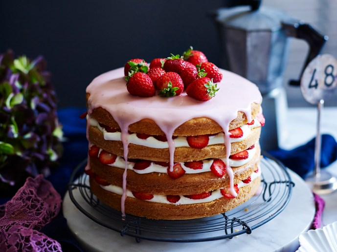 Gluten Free Strawberries and Cream Layer Cake